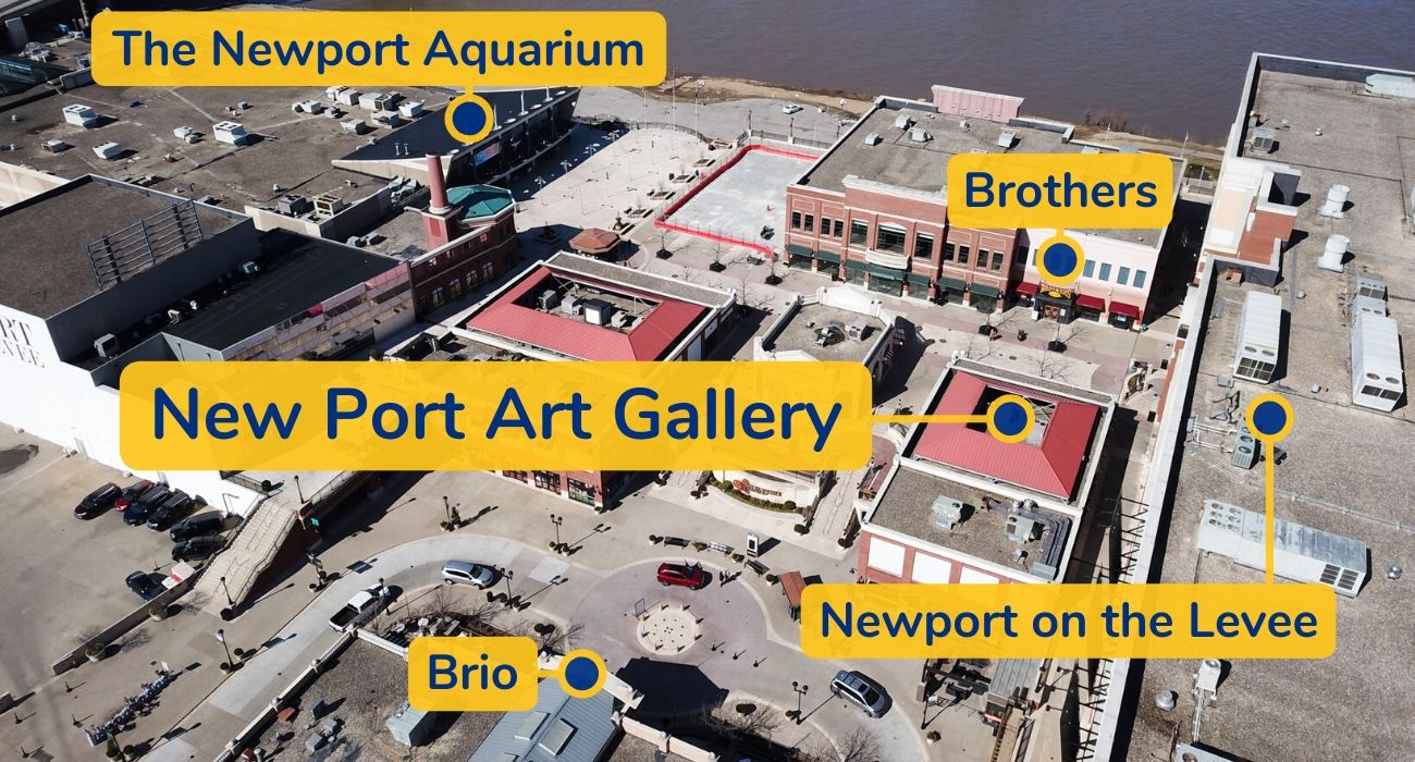 New Port Art Gallery's Location shown as a aerial photo with labels for reference.